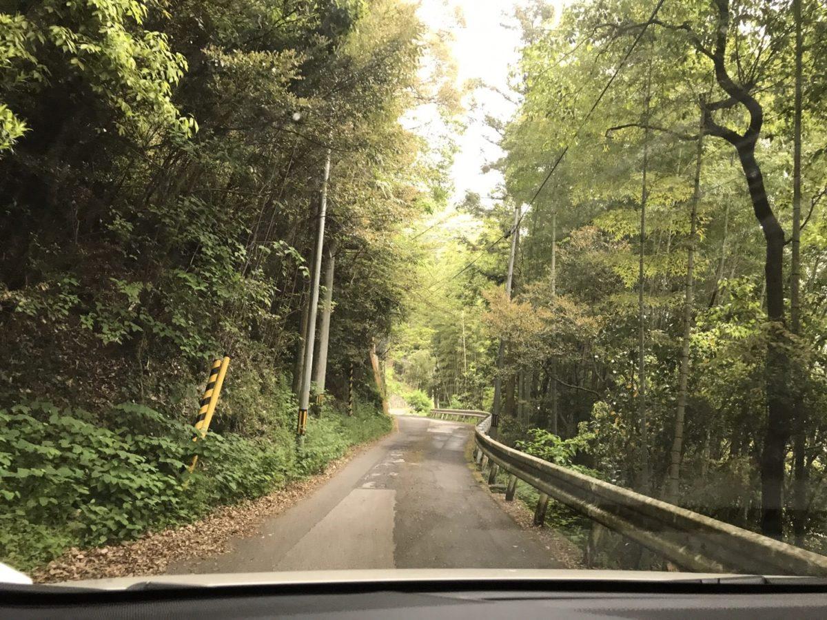 で~れ~狭い山道
