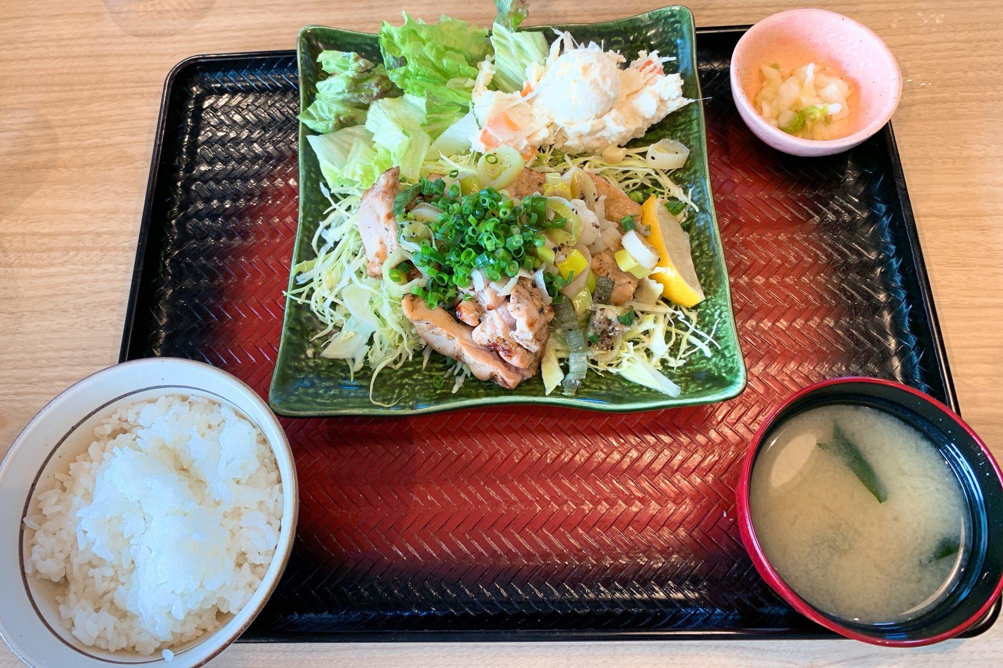 塩葱だれの炭火焼チキン定食(ご飯普通)